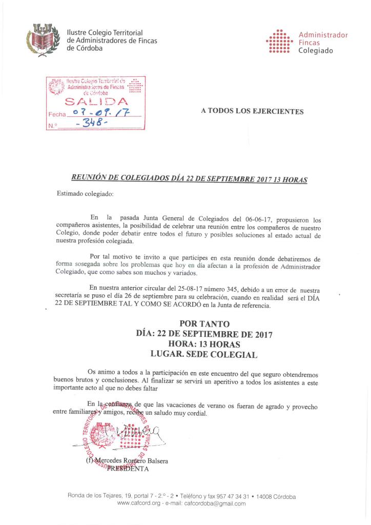CIRCULLAR 348 REUNION COLEGIADOS DÍA 22 DE SEPTIEMBRE